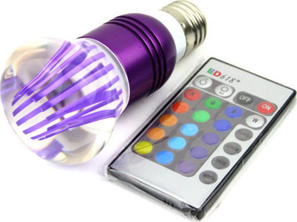 Rgb led lampa E27 3watt 16 xromaton