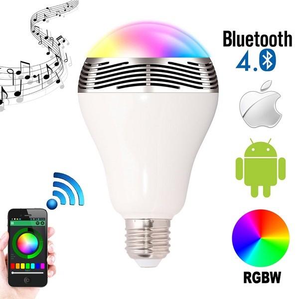 Bluetooth Πολύχρωμη Λάμπα LED 6W & Ηχείο 3W E27 για Android & iOS 2