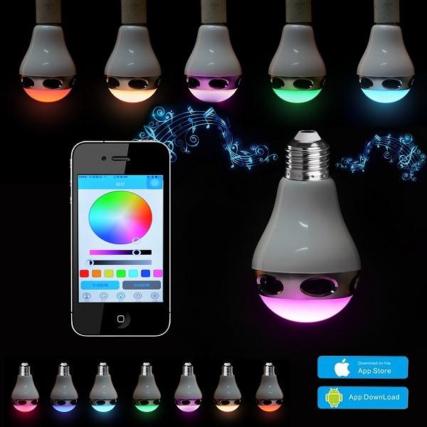 Bluetooth Πολύχρωμη Λάμπα LED 6W & Ηχείο 3W E27 για Android & iOS 3