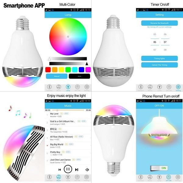 Bluetooth Πολύχρωμη Λάμπα LED 6W & Ηχείο 3W E27 για Android & iOS 4