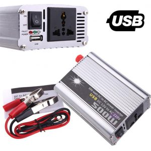 Inverter metatropeas isxios aftokinitou - fotovolatikon tropopoihmenou hmitouno DC 12V se AC 220V 500W me USB - OEM