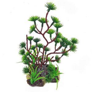 realistiko diakosmitiko plastiko fito 20cm gia enidria - aquarium plant prasino
