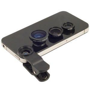 fakoi fisheye, wide, macro me klip gia kaamera kiniton - universal lens